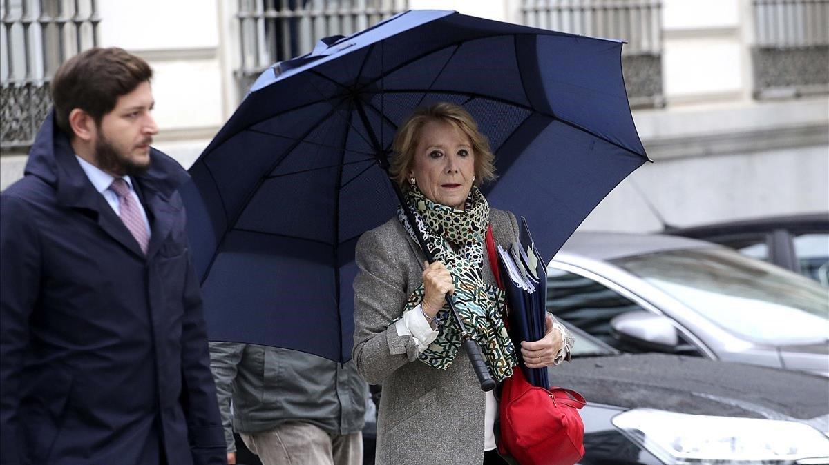 La ex Presidenta de la Comunidad de Madrid Esperanza Aguirrehoy a la Audiencia Nacional donde declara por el caso Punica