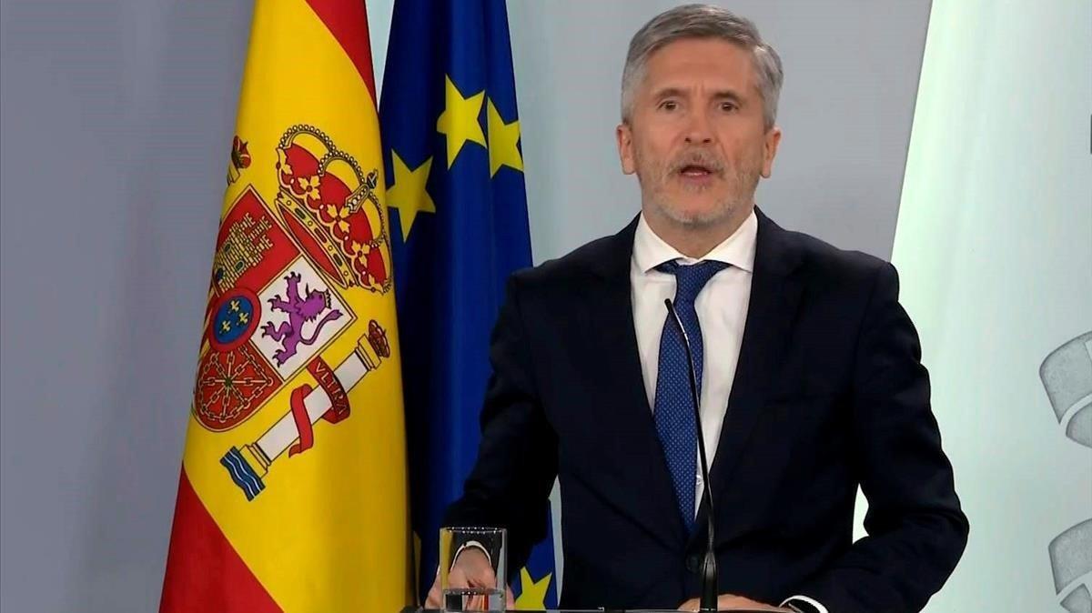 Fernando Grande-Marlaska, ministro del Interior, en rueda de prensa en el palacio de La Moncloa.