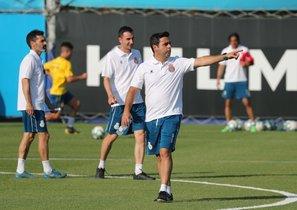 David Gallego, en el entrenamiento de este miércoles.