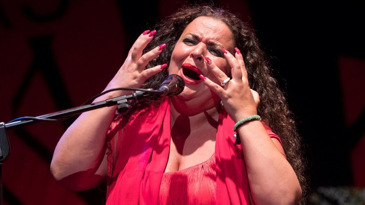 La ganadora de la Lámpara Minera, la cantaora María José Carrasco.