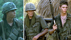De izquierda a derecha, Johnny Depp, Charlie Sheen y Kevin Dillon, en Platoon.