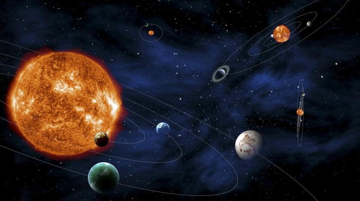 Representación delSistema Solar.