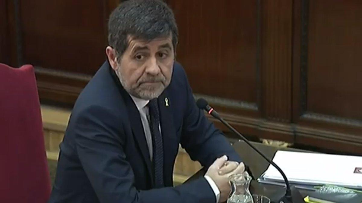 Jordi Sánchez, durante su declaración en el juicio del 'procés'.