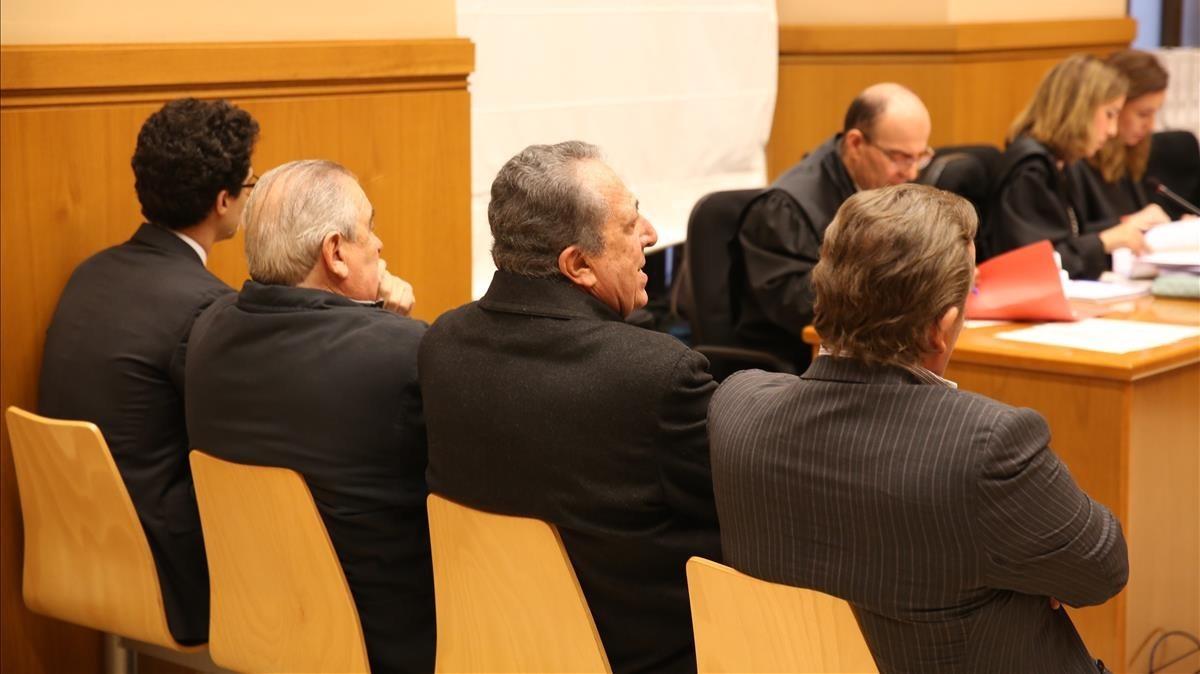 Los cuatro acusados en el juicio de La Seda, el pasado día 27 de febrero.