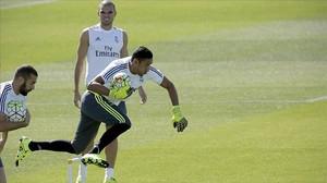 Keylor Navas, en un entrenamiento del Real Madrid.