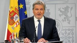 Íñigo Méndez de Vigo en la rueda de prensa posterior a la reunión del Consejo de Ministros.