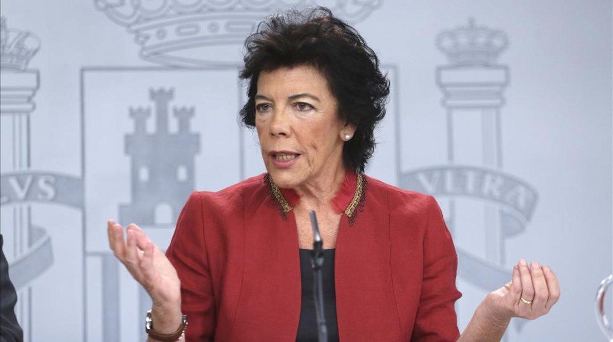 La portavoz del Gobierno y ministra de Educación en funciones, Isabel Celaá.