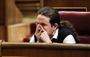 Pablo Iglesias, en la segunda jornada del debate de investidura de Pedro Sánchez.