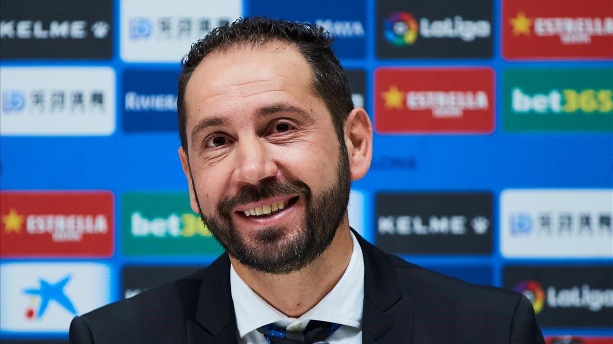 Pablo Machín, durante su presentación como técnico del Espanyol.