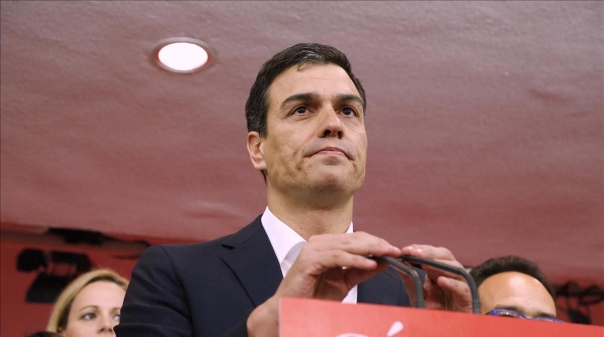 Pedro Sánchez, tras conocerse los resultados de las elecciones generales, este domingo.