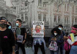 Protestas sociales en Perú en contra del presidente Manuel Merino.
