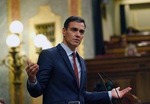 GRAF4738. MADRID, 27/02/2019.- El presidente del Gobierno, Pedro Sánchez , durante su comparecencia este miércoles en el último pleno del Congreso antes de la convocatoria de elecciones. EFE/J.P.Gandul