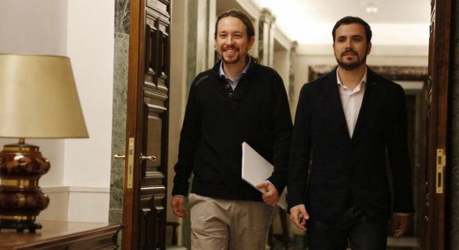 Pablo Iglesias y Alberto Garzón en el Congreso de los Diputados.