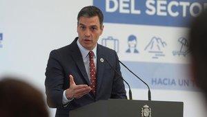 El presidente del Gobierno, Pedro Sánchez, en la presentación del Plan de Impulso al Sector Turístico.