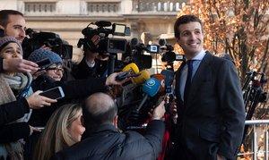 Pablo Casado, en Bruselas, este jueves.