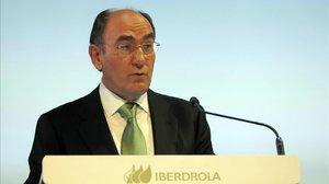 El presidente de Iberdrola, Ignacio Galán, en la apertura de la Junta de Accionistas de la companía.