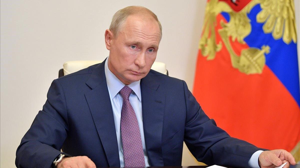 El presidente ruso, Vladímir Putin, este jueves durante una videoconferencia.
