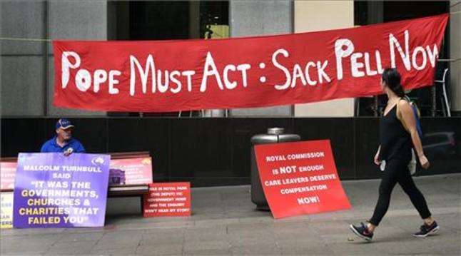 Protesta en Sídney por las respuestas institucionales a los abusos infantiles en la Iglesia, en una imagen de archivo.