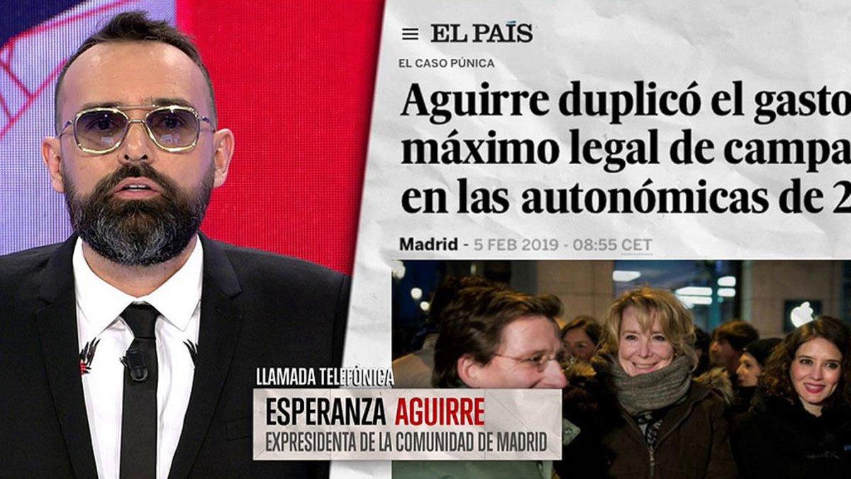 Risto Mejide hablando con Esperanza Aguirre en 'Todo es mentira'.