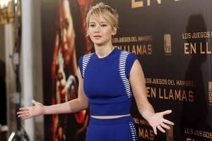 La actriz Jennifer Lawrence en la presentación de una película en noviembre de 2013 en Madrid