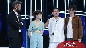 Roberto Leal junto a Anne, Bruno y Flavio en 'OT 2020'.