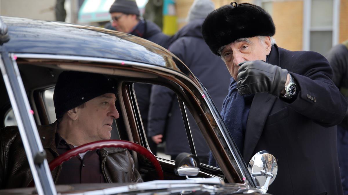Robertt DeNiro y Martin Scorsese, en el rodaje de The irishman