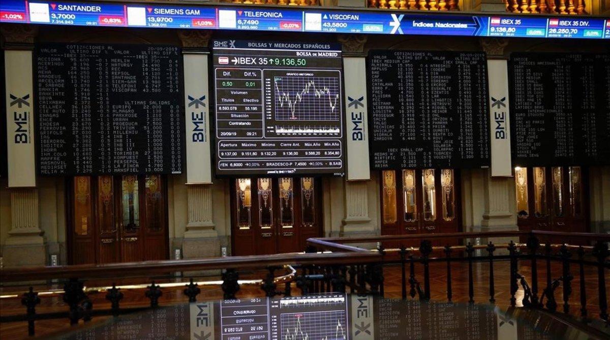 Imagen del 'parquet' de la Bolsa de Madrid.