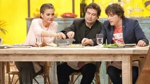 Samantha Vallejo-Nágera, Pepe Rodríguez y Jordi Cruz, en 'Masterchef'.