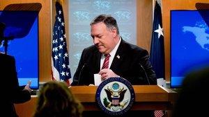 El secretario de Estado, Mike Pompeo, durante una conferencia de prensa.
