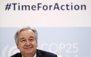 El secretario general de las Naciones Unidas Antonio Guterres en la rueda de prensa de lacumbre climática (COP25)