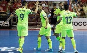 Los jugadores del Barça celebran un gol en la final de la pasada Liga de fútbol sala.