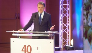 Joaquim Maria Puyal, en el acto de los 40 años de la Transmissió d'en Puyal (TdP), el sábado por la noche en el CosmoCaixa.
