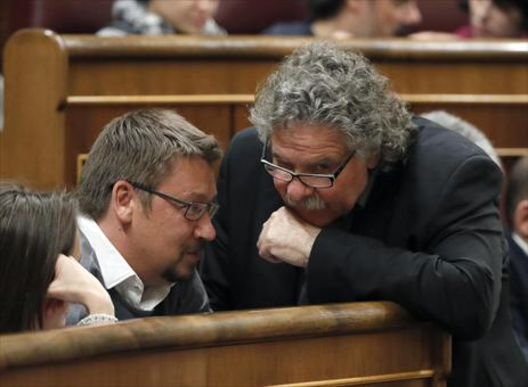 Xavier Domènech y Joan Tardà, el 4 de marzo del 2016 en el Congreso.