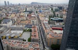 Imagen aérea de Pere IV, una de las calle que atraviesan el 22@.