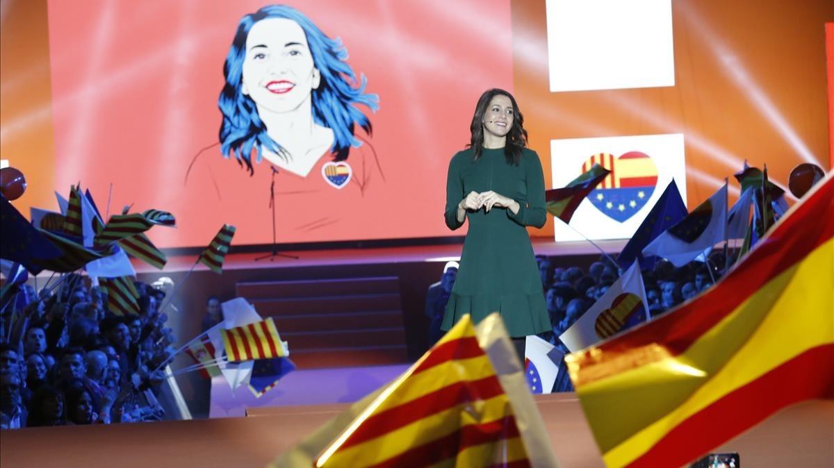 Inés Arrimadas, en el acto central de campaña de Ciutadans.