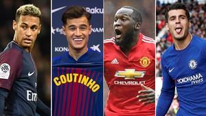 Neymar, Coutinho, Lukaku y Morata, protagonistas del mercado de traspasos en esta temporada.