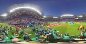 La cámara equirectangular permite crear esta imagen panorámica de 360 grados en el estadio Kazán Arena.