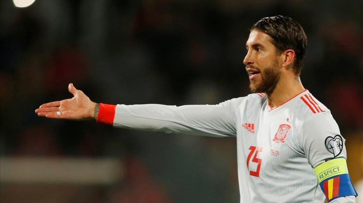 Sergio Ramos, durante el partido de la selección española contra Malta.