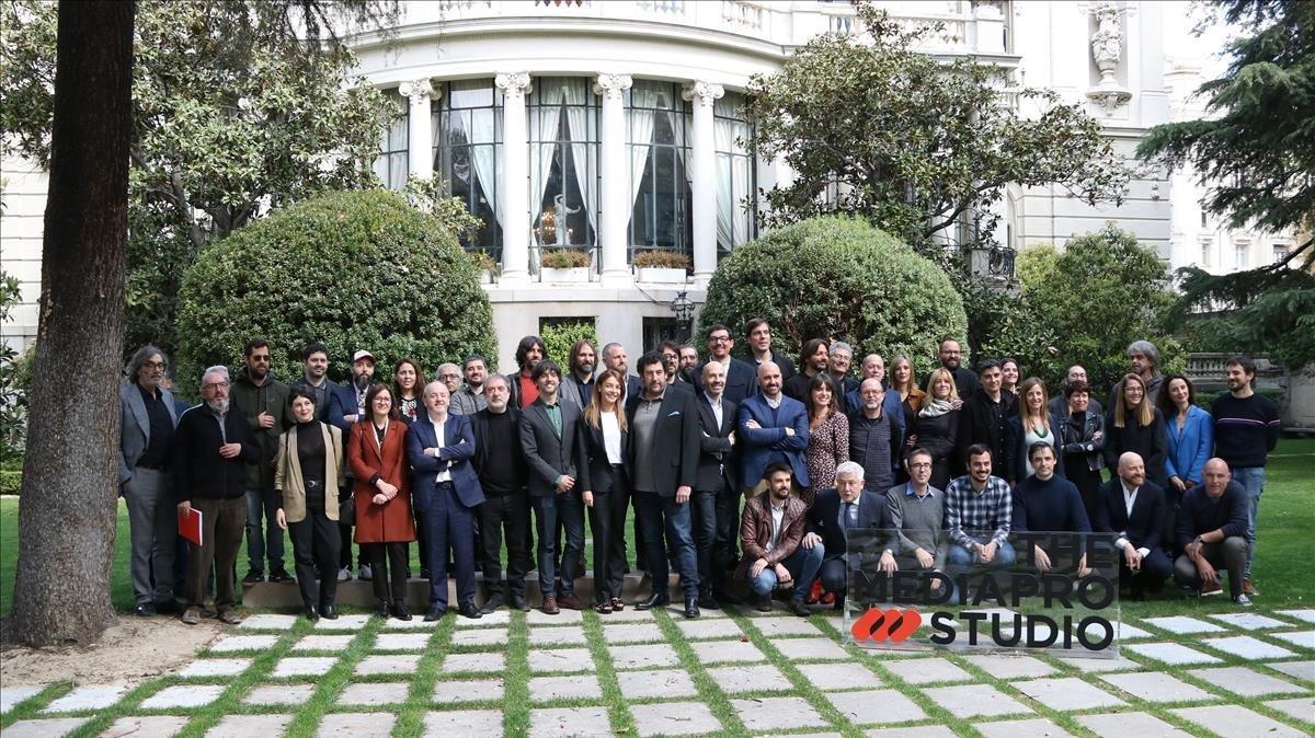 El equipo de Mediapro Studio, en la presentación oficial de la empresa en Madrid