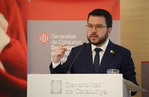 El 'vicepresident' Pere Aragonès, durante la presentación del Informe Anual de l'Economia Catalana 2018.
