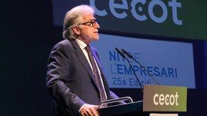 El president de Foment del Treball, Josep Sánchez Llibre, durante la entrega de premios de Cecot.
