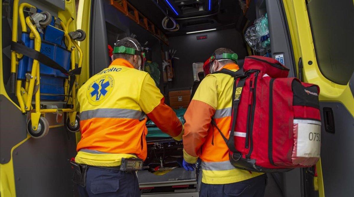 Personal de ambulancias de Barcelona.