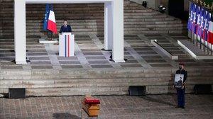 Macron, durante el funeral de estado por el asesinato del profesor Samuel Paty