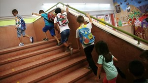 Alumnos de primaria en la vuelta al cole del pasado septiembre.