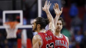 Pau Gasol i Joakim Noah celebren la victòria dels Bulls davant els Wizards
