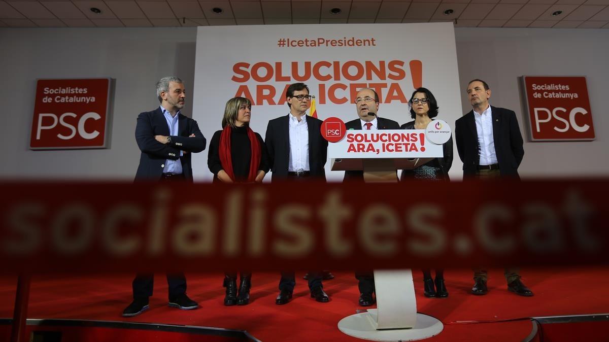 Miquel Iceta, comparece para dar cuenta de los resultados electorales.