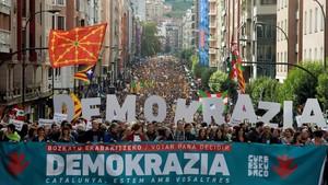 Manifestación a favor del referéndum del 1-O en Catalunya, el pasado 16 de septiembre en Bilbao