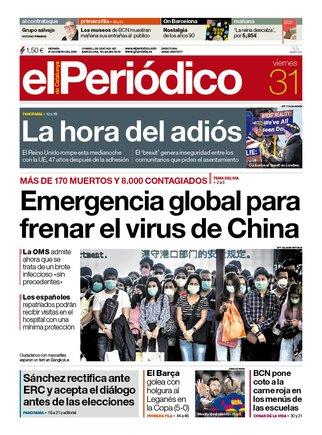 La portada de EL PERIÓDICO del 31 de gener del 2020