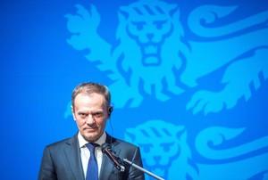 Donald Tusk durante su rueda de prensa en Tallin, la capital de Estonia.