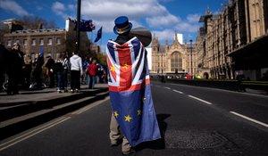 Un activistas pro Union Europea protesta a las puertas del Parlamento en Londres.